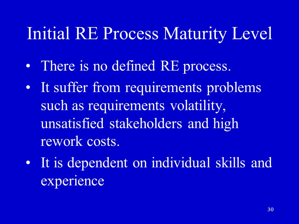 Initial RE Process Maturity Level