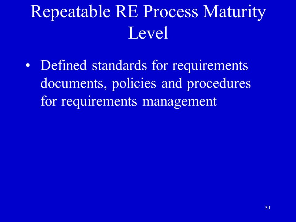 Repeatable RE Process Maturity Level