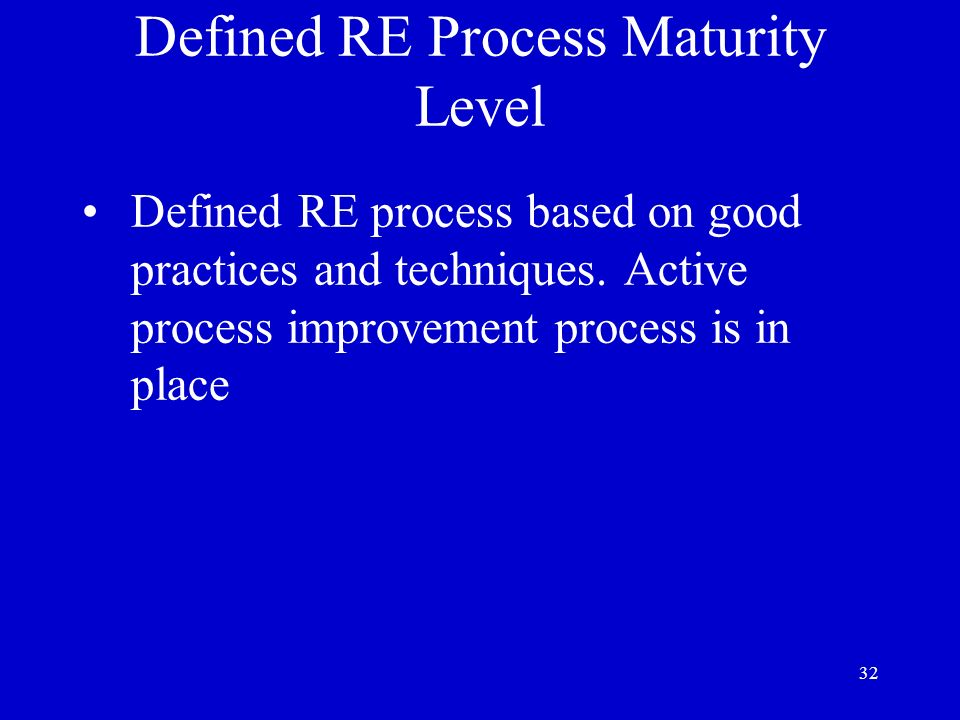Defined RE Process Maturity Level