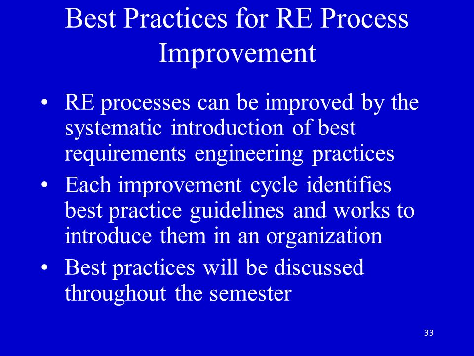 Best Practices for RE Process Improvement