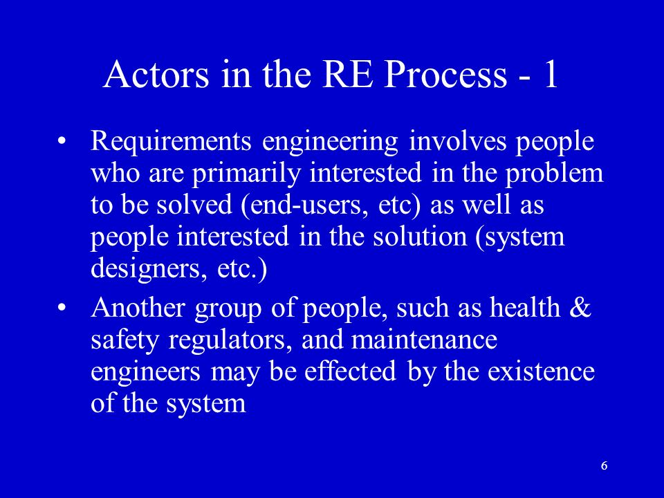 Actors in the RE Process - 1