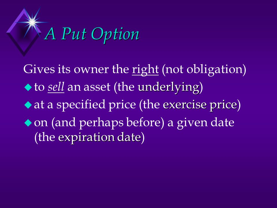 A Put Option Gives its owner the right (not obligation)