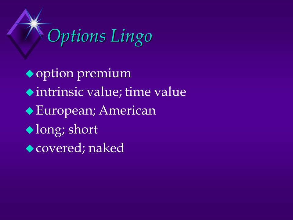 Options Lingo option premium intrinsic value; time value