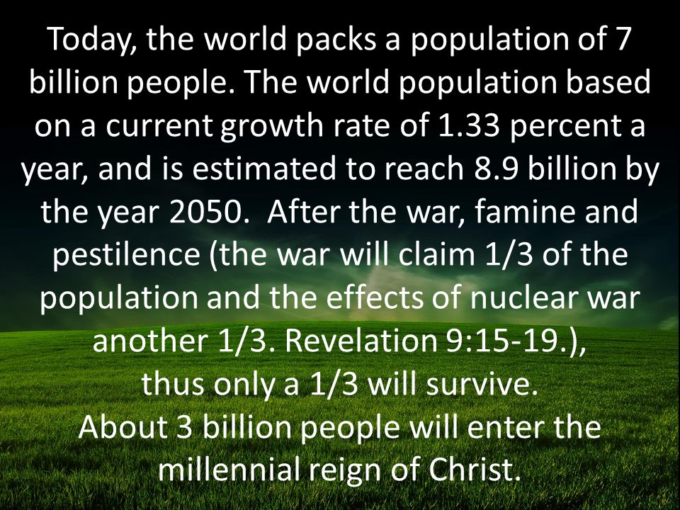 Today, the world packs a population of 7 billion people