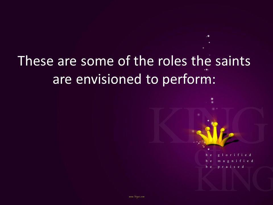 These are some of the roles the saints are envisioned to perform: