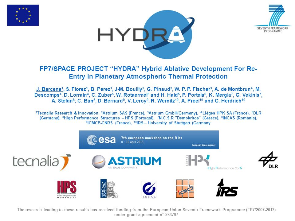FP7/SPACE PROJECT HYDRA Hybrid Ablative Development For Re-Entry In Planetary Atmospheric Thermal Protection