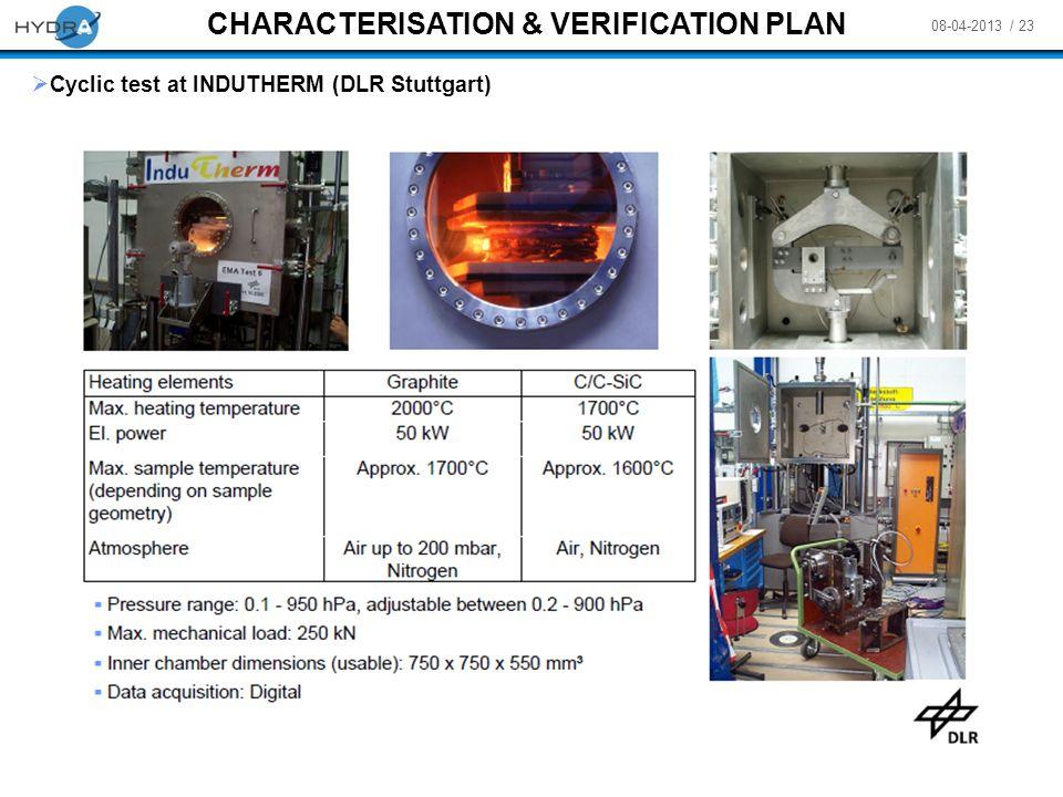 CHARACTERISATION & VERIFICATION PLAN
