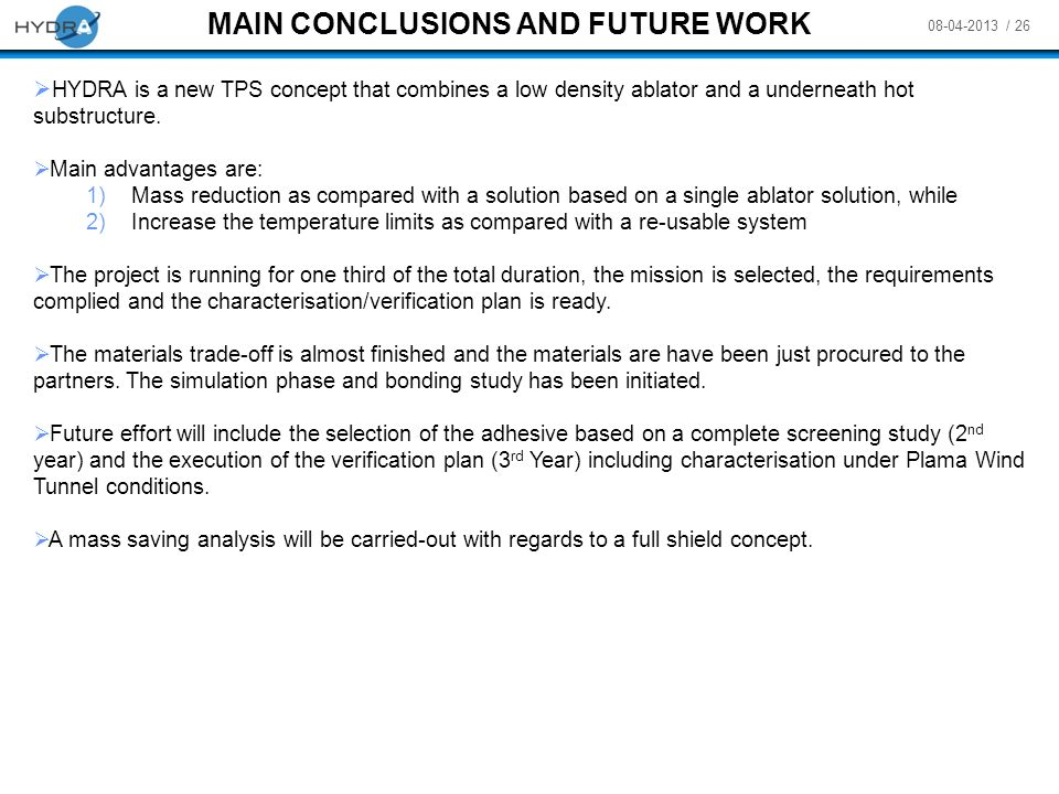 MAIN CONCLUSIONS AND FUTURE WORK