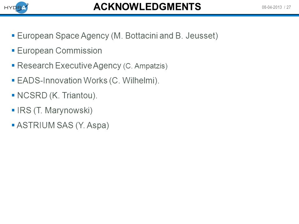 ACKNOWLEDGMENTS European Space Agency (M. Bottacini and B. Jeusset)