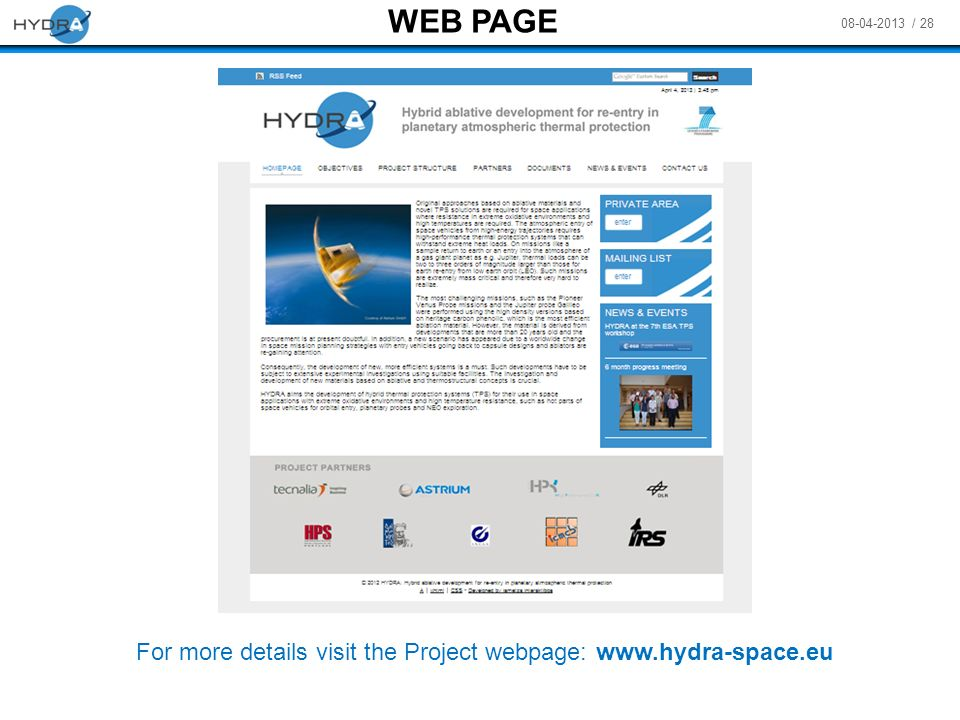 For more details visit the Project webpage: www.hydra-space.eu