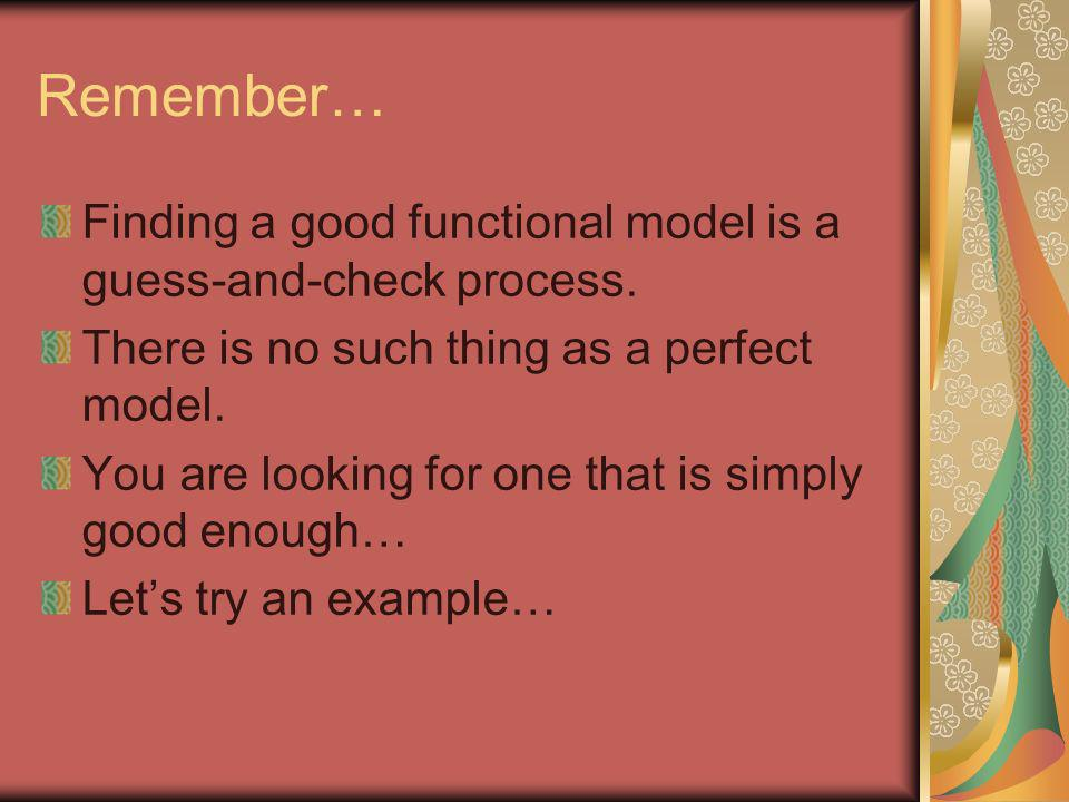 Remember… Finding a good functional model is a guess-and-check process. There is no such thing as a perfect model.