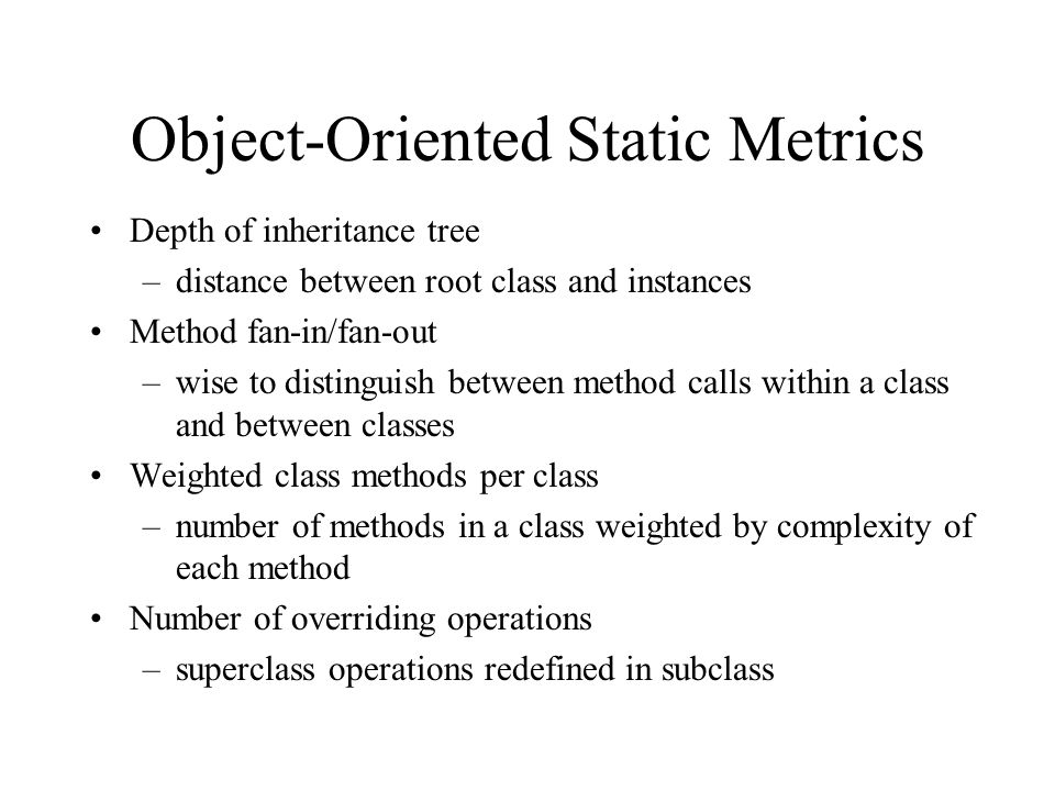 Object-Oriented Static Metrics