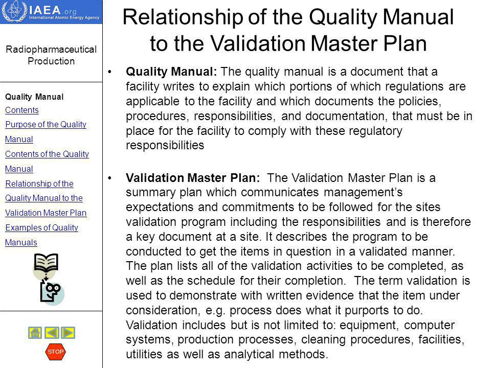 Relationship of the Quality Manual to the Validation Master Plan
