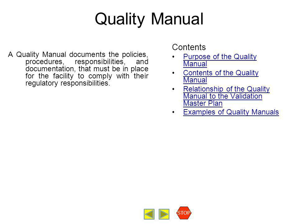Quality Manual Contents Purpose of the Quality Manual