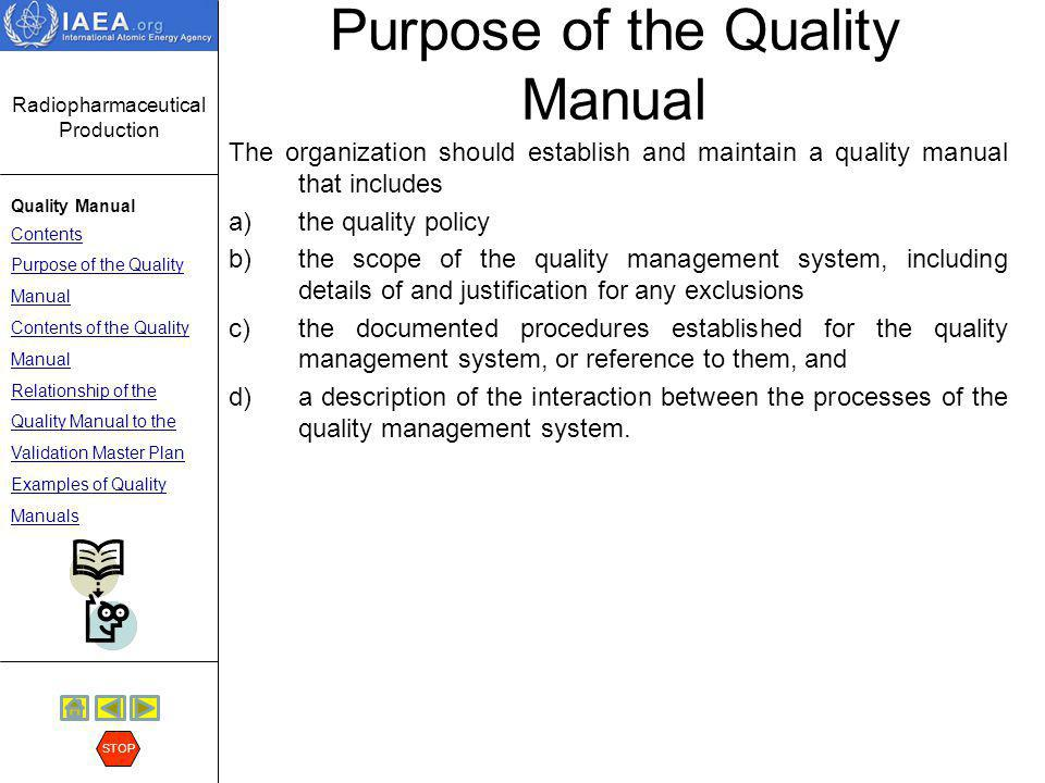 Purpose of the Quality Manual