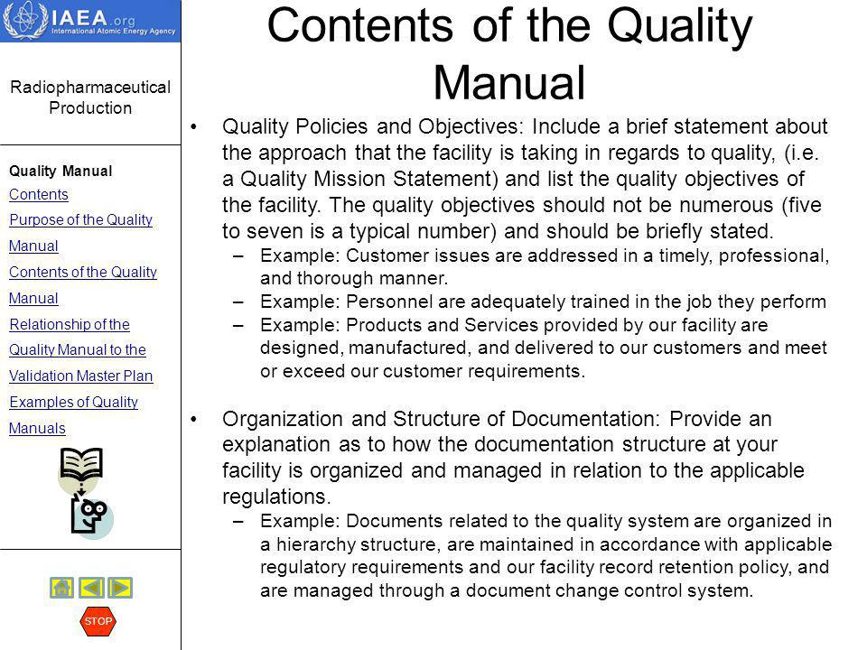 Contents of the Quality Manual
