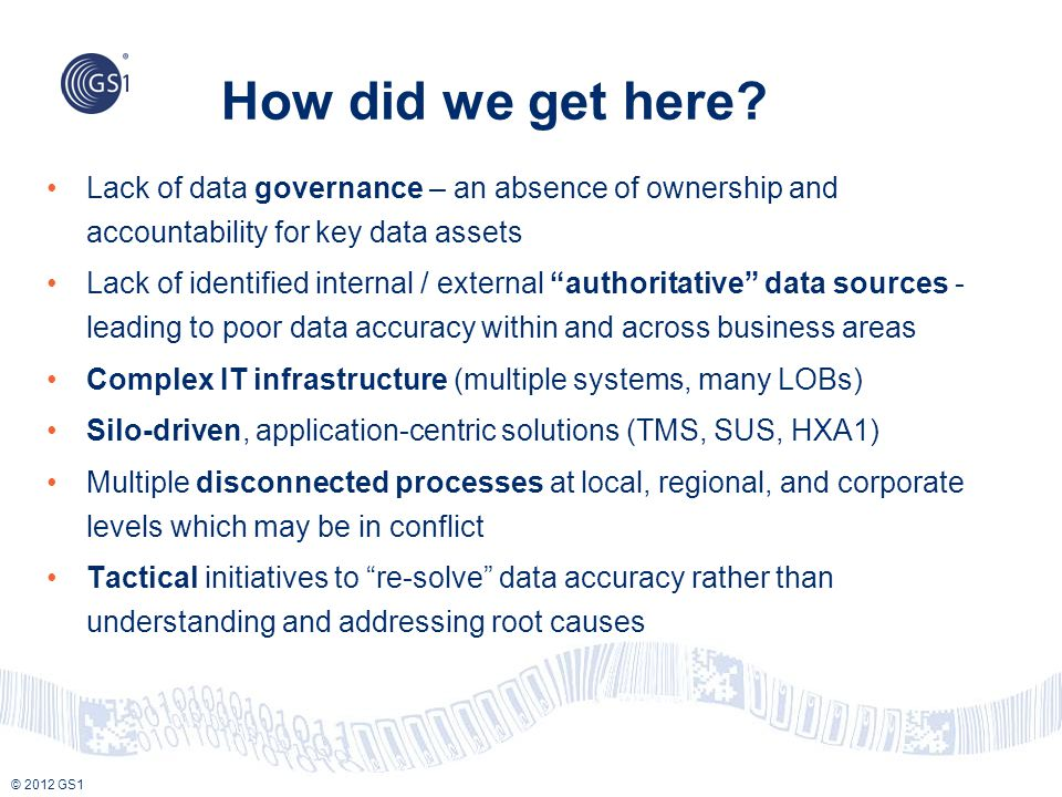 How did we get here Lack of data governance – an absence of ownership and accountability for key data assets.