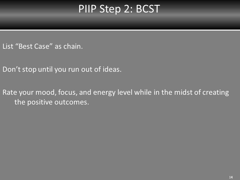 PIIP Step 2: BCST List Best Case as chain.