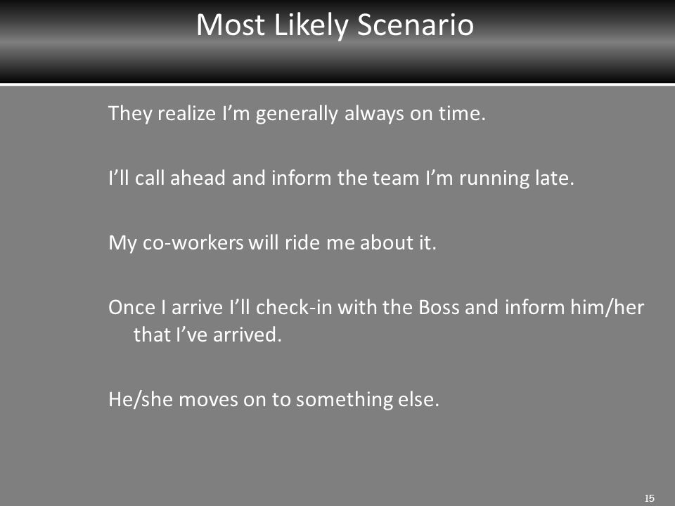 Most Likely Scenario They realize I'm generally always on time.