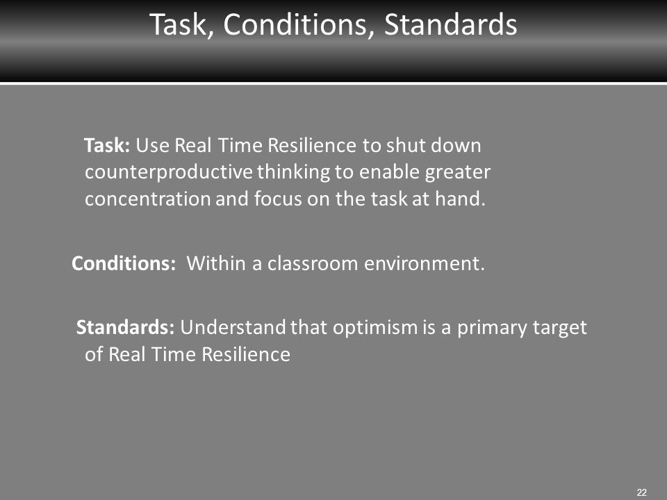 Task, Conditions, Standards