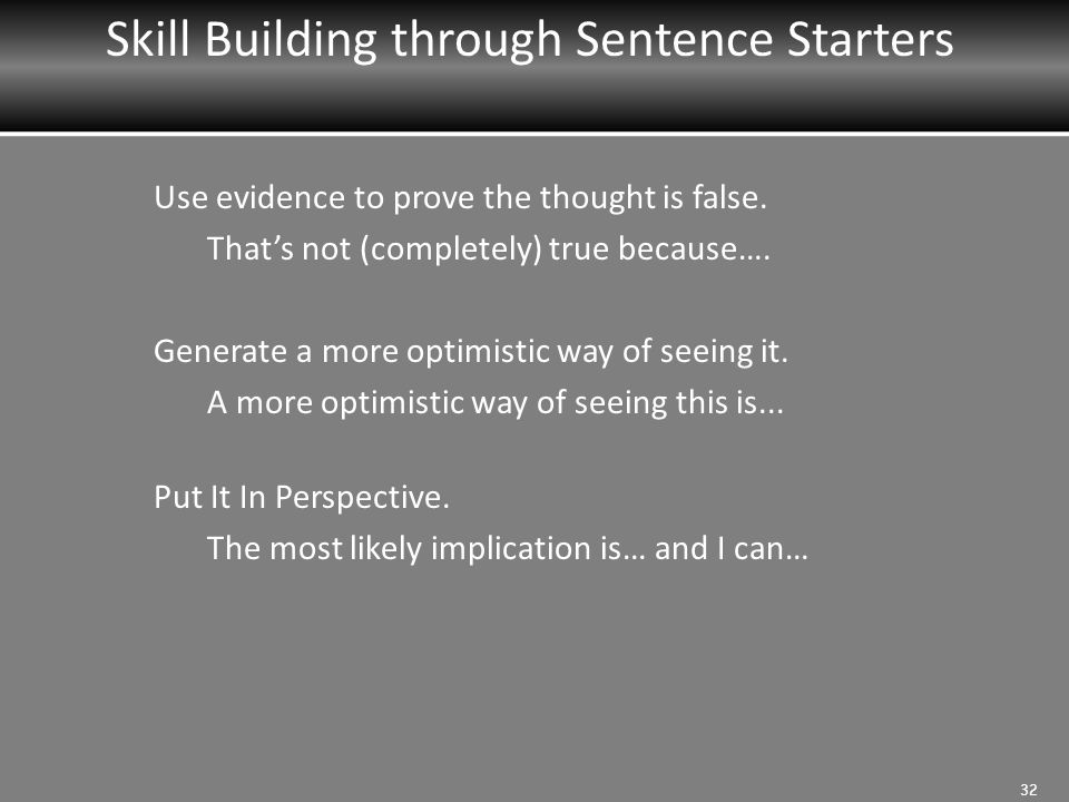 Skill Building through Sentence Starters