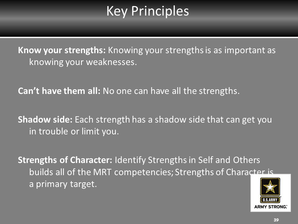 Key Principles Know your strengths: Knowing your strengths is as important as knowing your weaknesses.