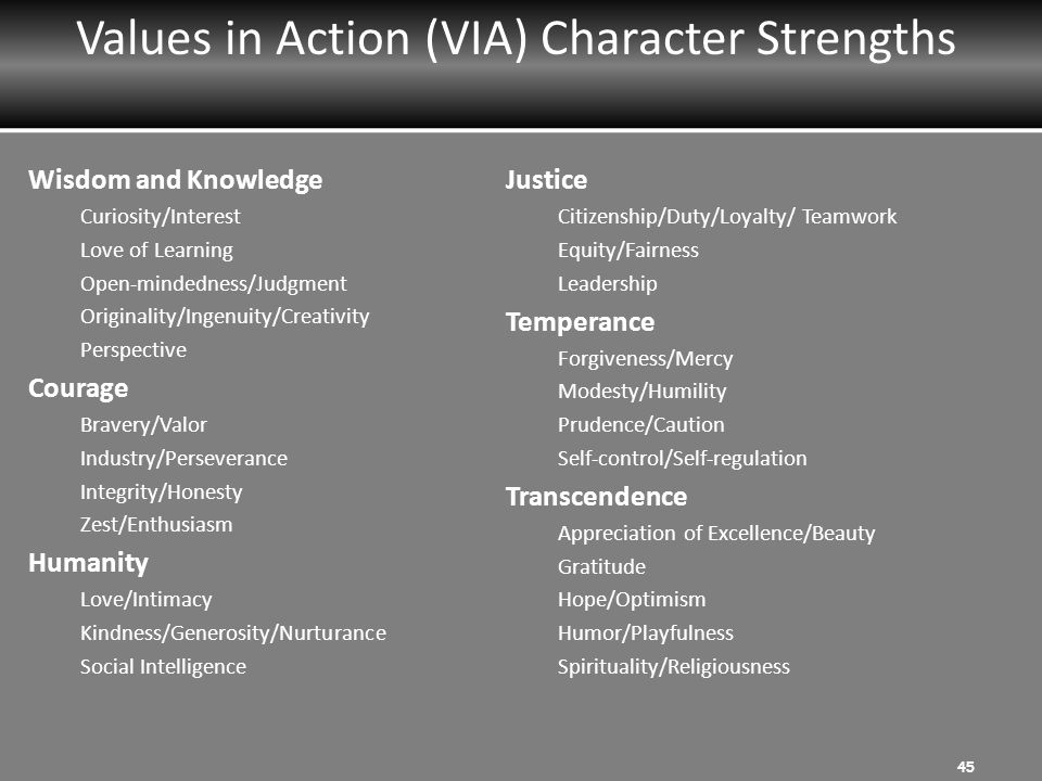 Values in Action (VIA) Character Strengths