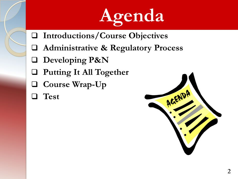 Agenda Introductions/Course Objectives