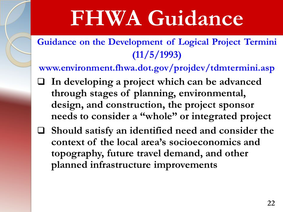 Guidance on the Development of Logical Project Termini