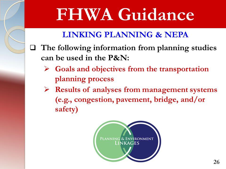 LINKING PLANNING & NEPA