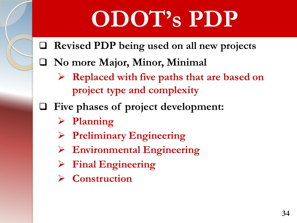 ODOT's PDP Revised PDP being used on all new projects