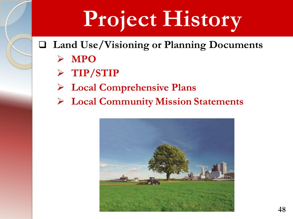 Project History Land Use/Visioning or Planning Documents MPO TIP/STIP