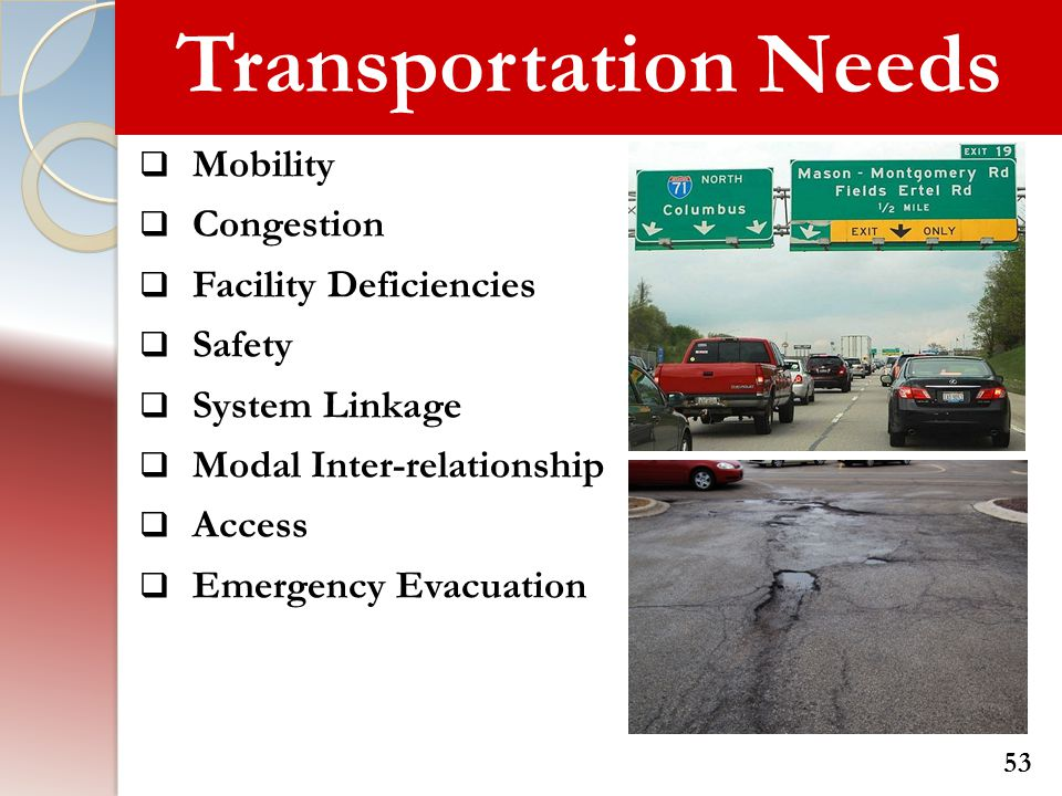 Transportation Needs Mobility Congestion Facility Deficiencies Safety