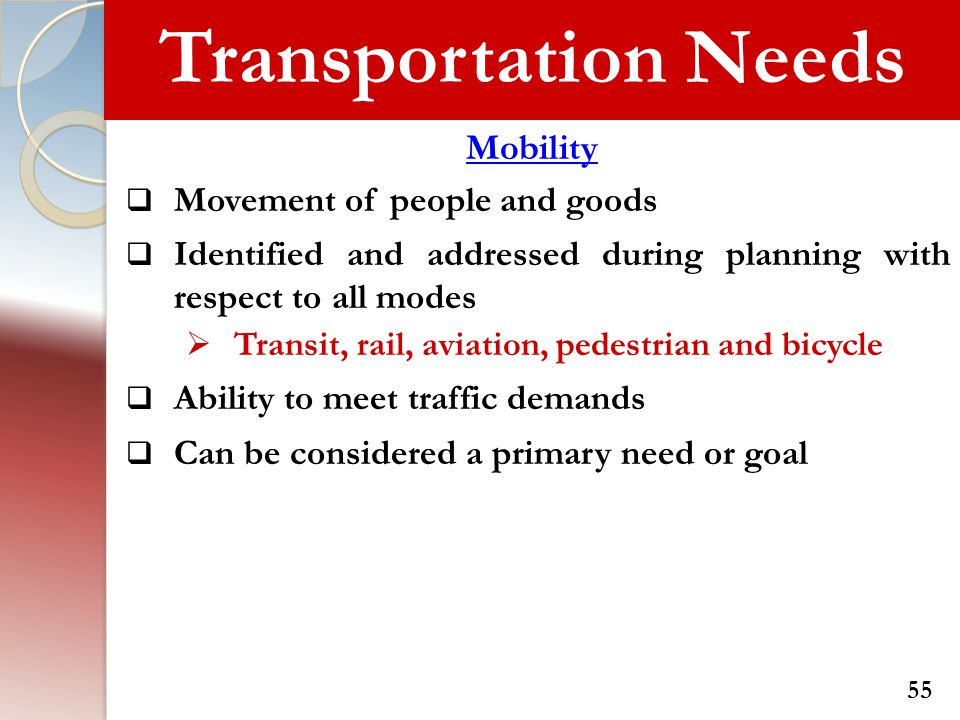 Transportation Needs Mobility Movement of people and goods