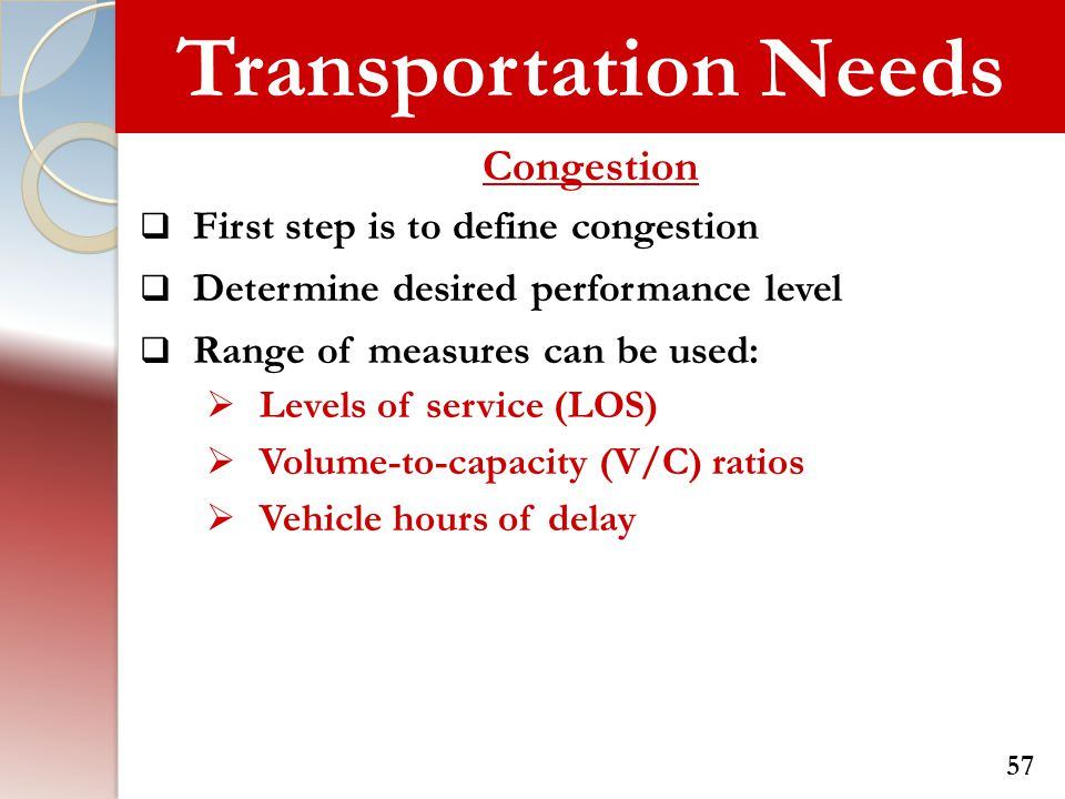 Transportation Needs Congestion First step is to define congestion