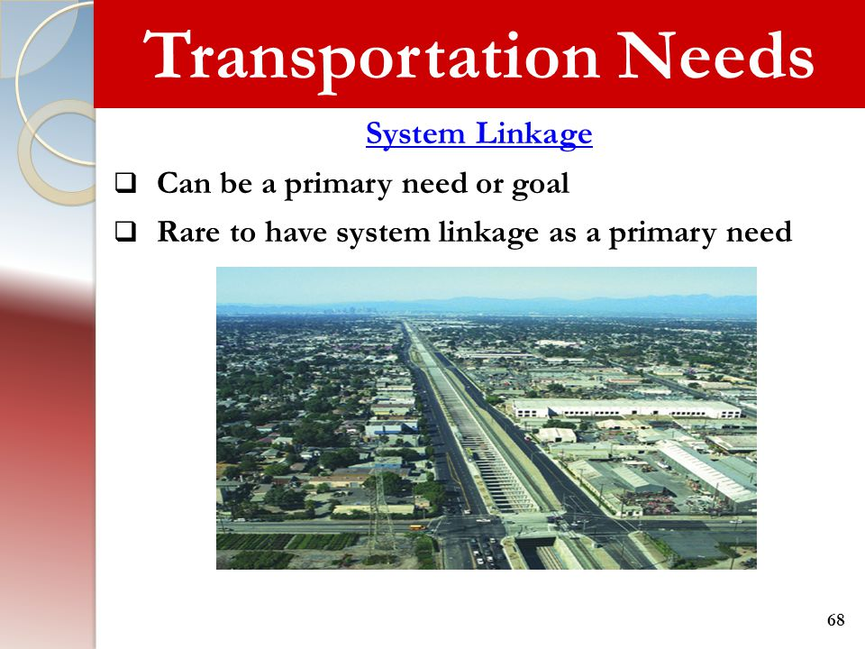 Transportation Needs System Linkage Can be a primary need or goal