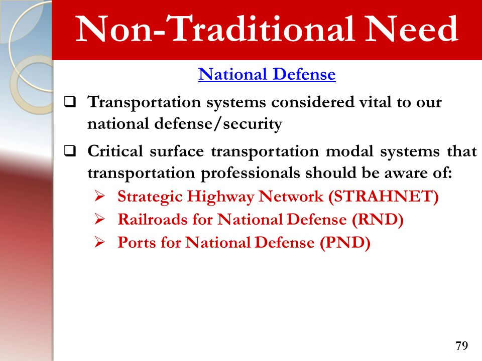 Non-Traditional Need National Defense