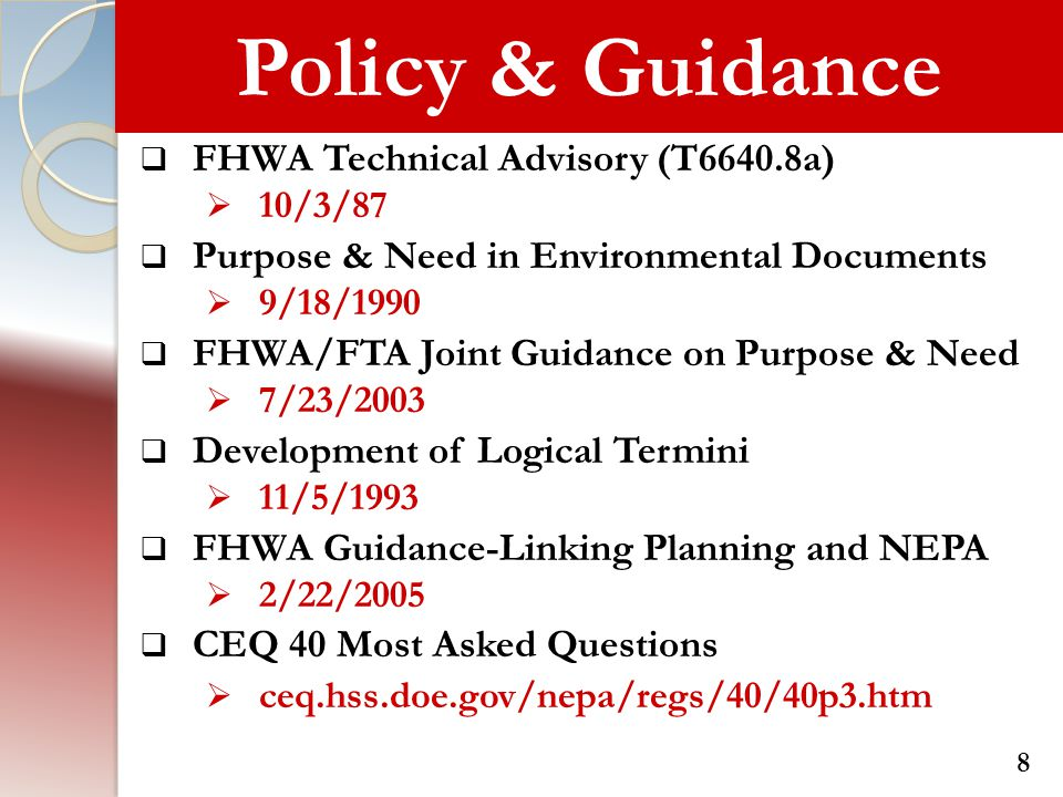 Policy & Guidance FHWA Technical Advisory (T6640.8a)