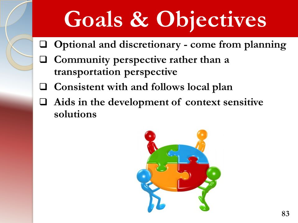 Goals & Objectives Optional and discretionary - come from planning