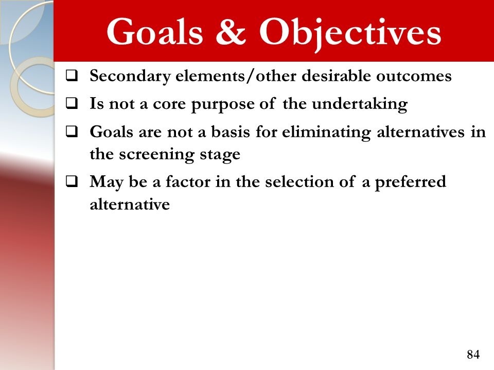 Goals & Objectives Secondary elements/other desirable outcomes