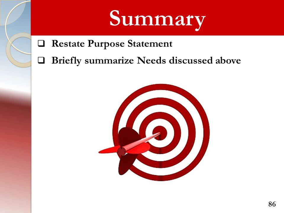 Summary Restate Purpose Statement