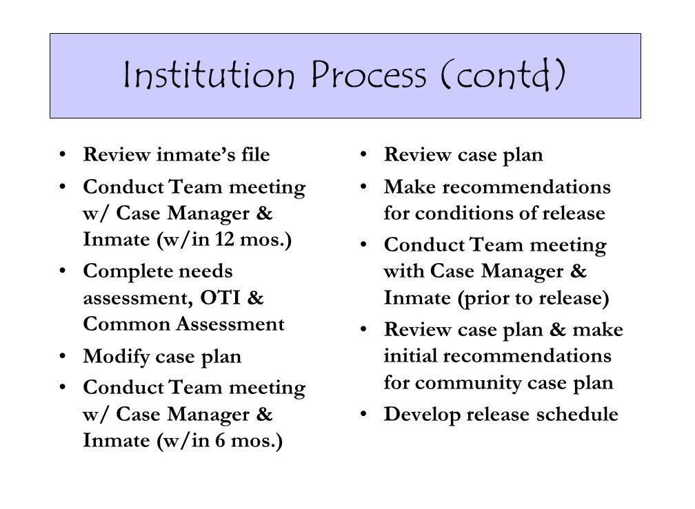 Institution Process (contd)
