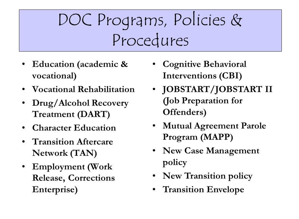 DOC Programs, Policies & Procedures