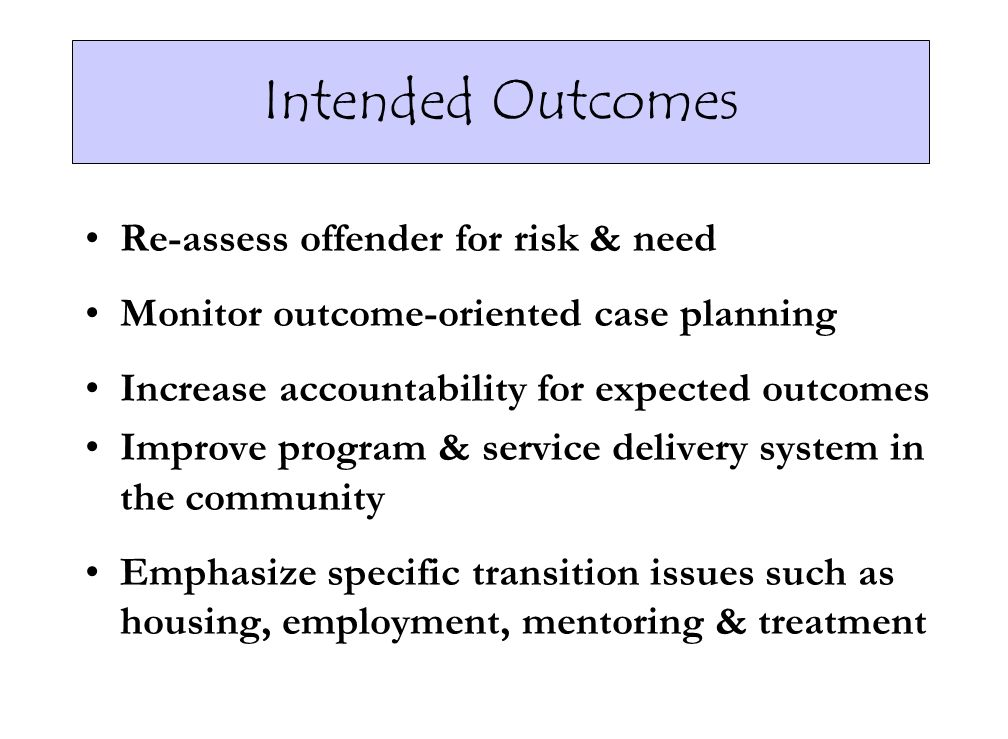 Intended Outcomes Re-assess offender for risk & need