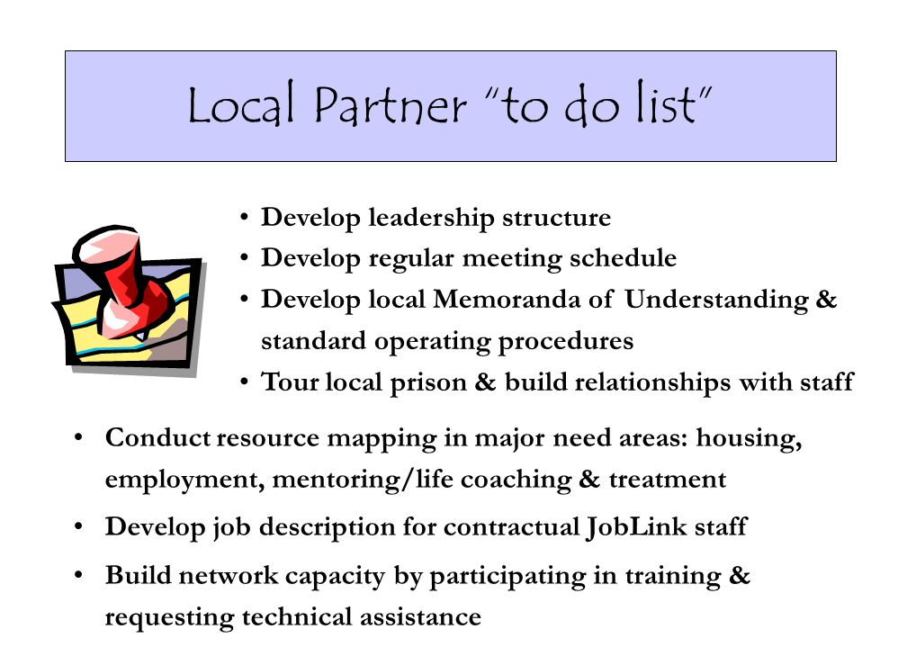 Local Partner to do list