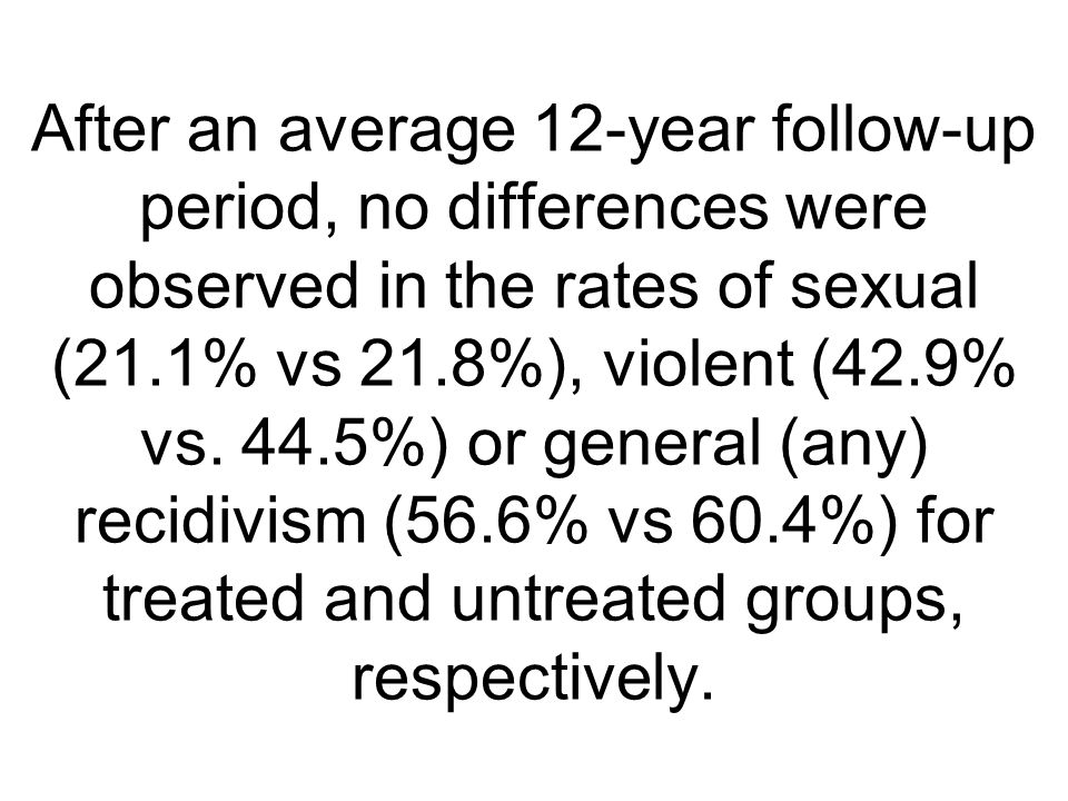 After an average 12-year follow-up period, no differences were observed in the rates of sexual (21.1% vs 21.8%), violent (42.9% vs.