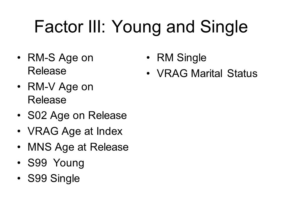 Factor III: Young and Single