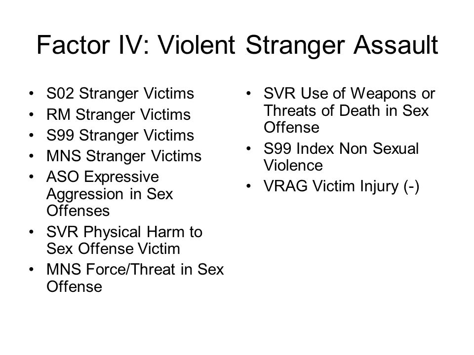 Factor IV: Violent Stranger Assault