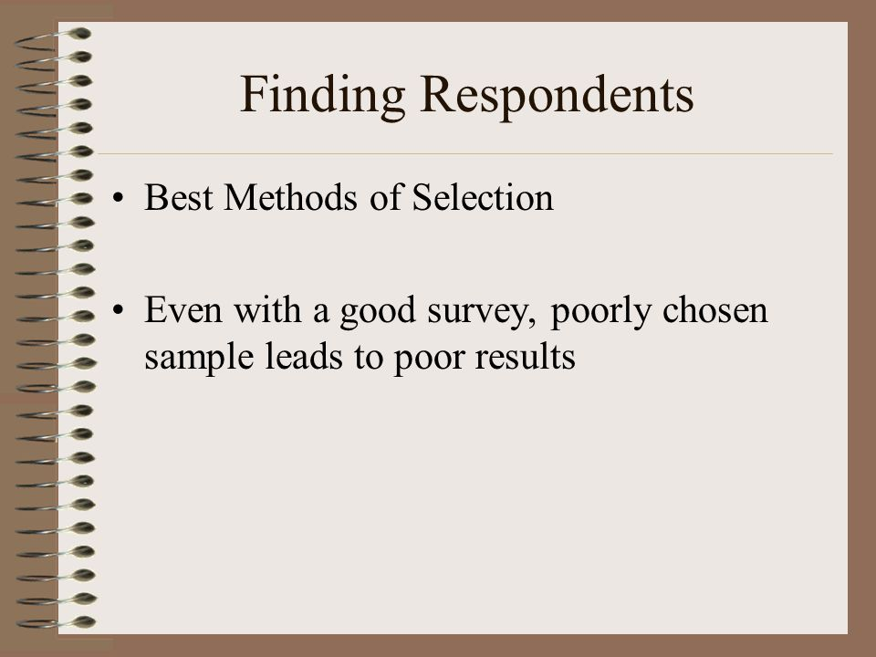 Finding Respondents Best Methods of Selection