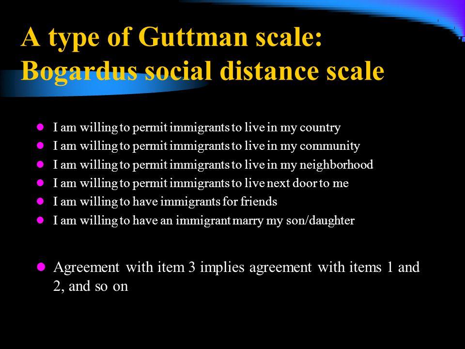 A type of Guttman scale: Bogardus social distance scale